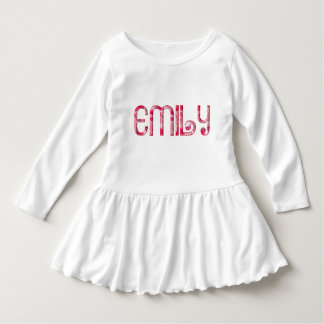 Emily Cute Pink Love Heart Kiss Typography Toddler Dress