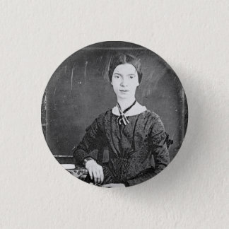 Emily Dickinson Black & White Portrait Pinback Button