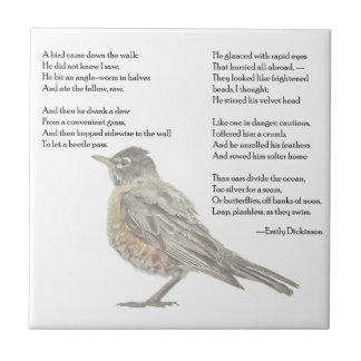"""Emily Dickinson """"en poema del jardín"""" Azulejo Cuadrado Pequeño"""
