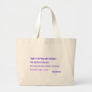 Emily Dickinson - la esperanza es la cosa con las  Bolsa Tela Grande