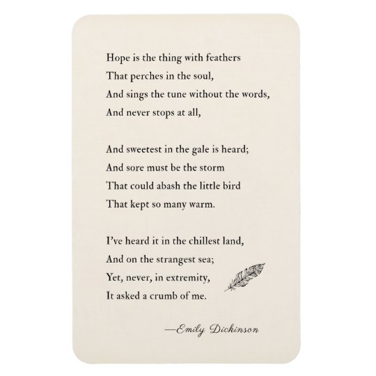 Emily Dickinson Poem Magnet Hope Feathers Magnet