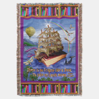 Emily Dickinson Poem Quote Book Ship Ocean Throw Blanket
