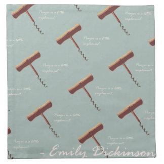 Emily Dickinson Prayer is a corkscrew Napkin