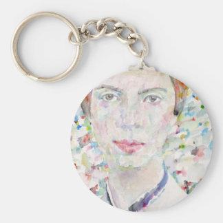 emily dickinson - watercolor portrait keychain