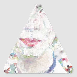 emily dickinson - watercolor portrait triangle sticker