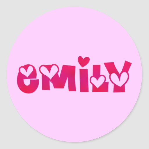 Emily en corazones pegatina redonda