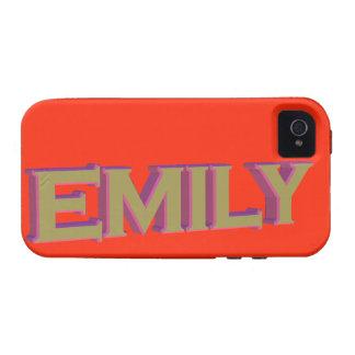 Emily en el oro 3D sobre tango de la mandarina Case-Mate iPhone 4 Funda