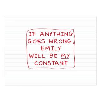 Emily es mi constante tarjetas postales