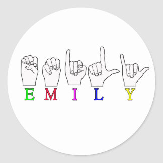 EMILY FINGERSPELLED NAME ASL ROUND STICKERS