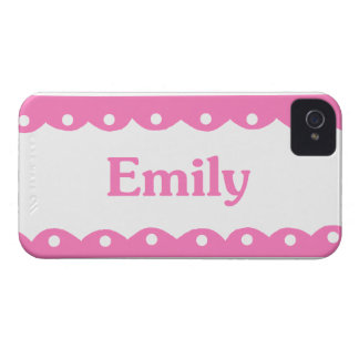 Emily Name Pink Lace iPhone 4 Case-Mate Cases