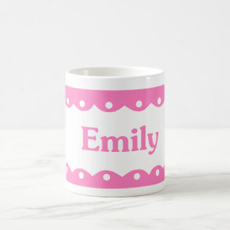 Emily Name Pink Lace Coffee Mugs