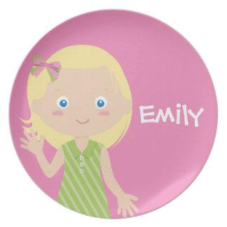 emily   personalised melamine plate for girls