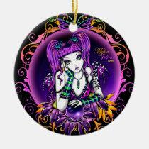 emily, rainbow, crystal, ball, magical, fairy, faery, fae, faerie, fantasy, art, big, eyed, butterfly, myka, jelina, mika, faeries, Ornament with custom graphic design