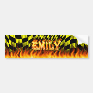Emily real fire and flames bumper sticker design. car bumper sticker