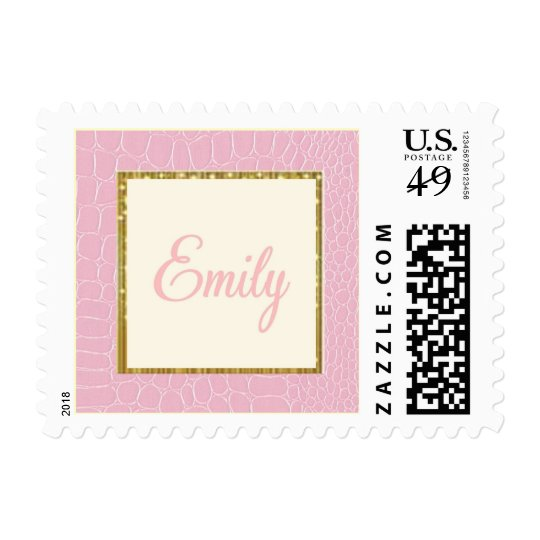 Emily stamp SMALL square gold sparkle pink croc