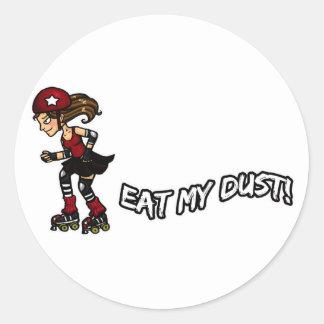 Emisión roja de Rollerderby Pegatina Redonda