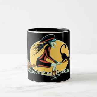 Emisiones de carbono cero taza de café de dos colores