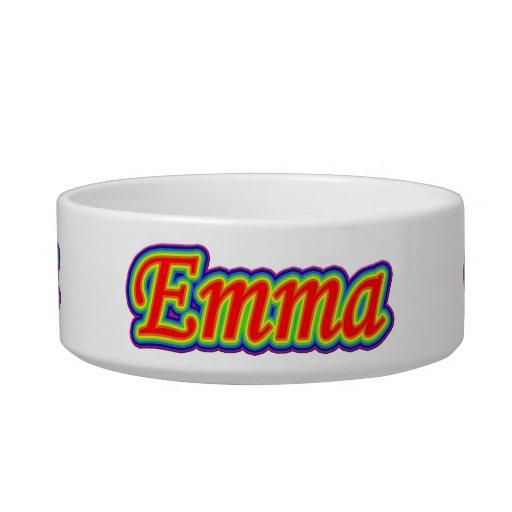 Emma - arco iris - en blanco tazón para agua para gatos