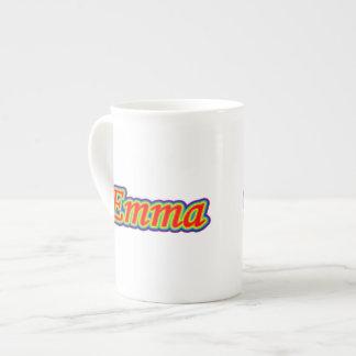 Emma - arco iris - en blanco tazas de porcelana
