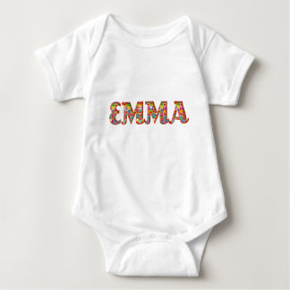 Emma Cute Love Hearts Red Orange Typography Girl Baby Bodysuit