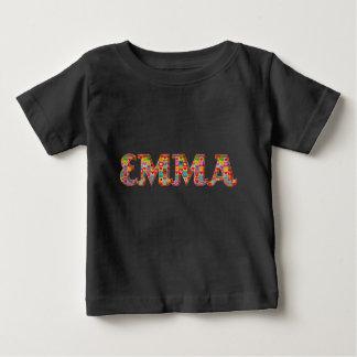 Emma Cute Love Hearts Red Orange Typography Girl Baby T-Shirt