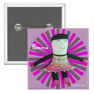 Emma Doll Vintage Add Name Square Button