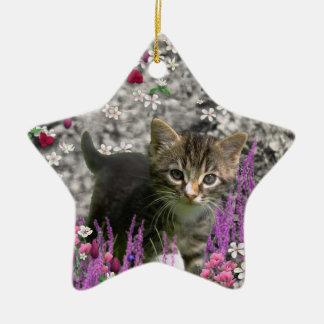 Emma en flores I - pequeño gatito gris Adornos De Navidad