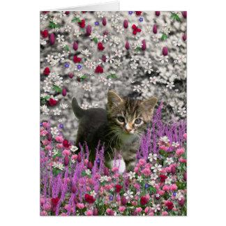 Emma en flores I - pequeño gatito gris Tarjeta De Felicitación