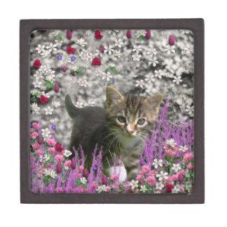 Emma en flores I - pequeño gato gris del gatito Caja De Regalo De Calidad