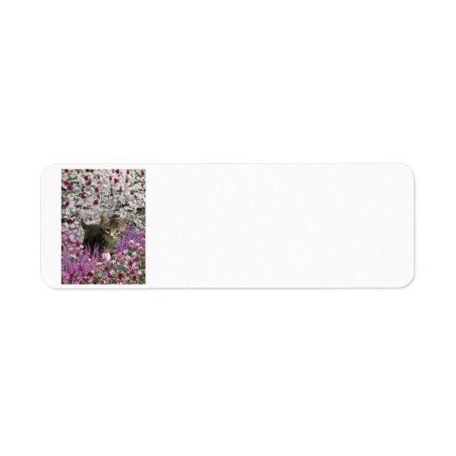 Emma en flores I - pequeño gato gris del gatito Etiquetas De Remite
