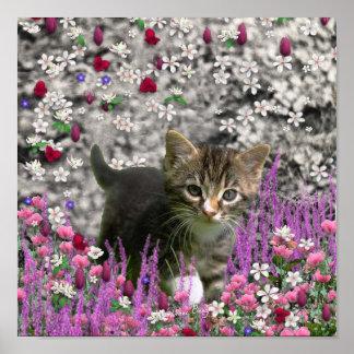 Emma en flores I - pequeño gato gris del gatito Póster