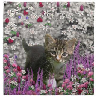 Emma en flores I - pequeño gato gris del gatito Servilleta De Papel
