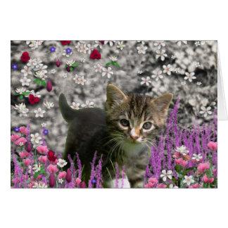 Emma en flores I - pequeño gato gris del gatito Tarjetón