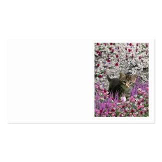 Emma en flores I - pequeño gato gris del gatito Tarjeta Personal
