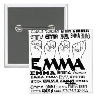 EMMA FINGERSPELLED ASL FONTS LANGUAGES PINBACK BUTTON