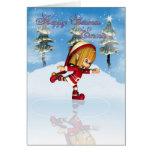 Emma Happy Christmas Moonies cutie Elf skating Card