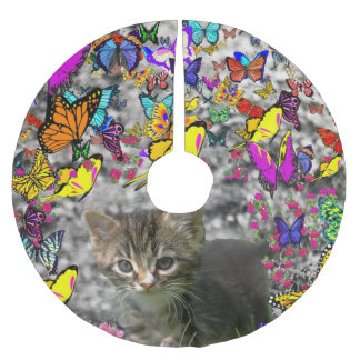 Emma in Butterflies, Cute Gray Tabby Kitty Brushed Polyester Tree Skirt