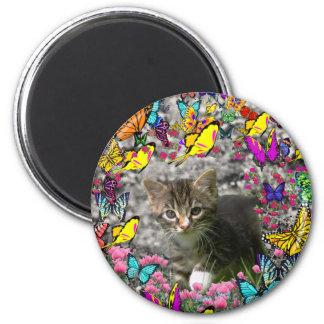 Emma in Butterflies I - Gray Tabby Kitten 2 Inch Round Magnet