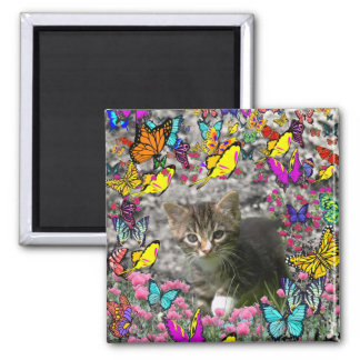 Emma in Butterflies I - Gray Tabby Kitten 2 Inch Square Magnet
