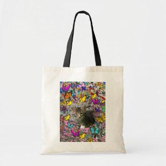 Emma in Butterflies I - Gray Tabby Kitten Budget Tote Bag