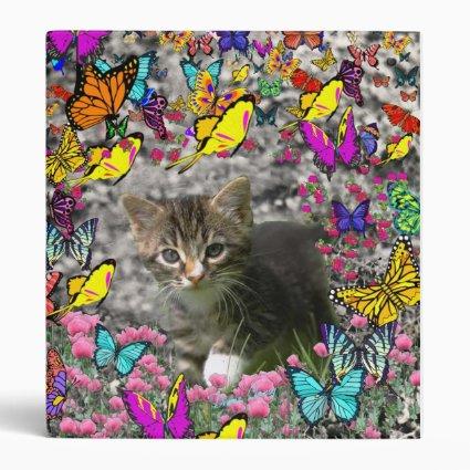 Emma in Butterflies I - Gray Tabby Kitten 3 Ring Binder