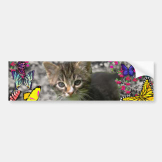 Emma in Butterflies I - Gray Tabby Kitten Bumper Sticker