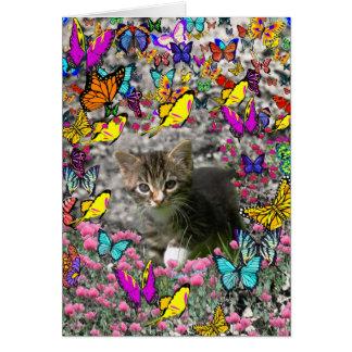 Emma in Butterflies I - Gray Tabby Kitten Greeting Card
