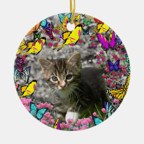 Emma in Butterflies I - Gray Tabby Kitten Ceramic Ornament