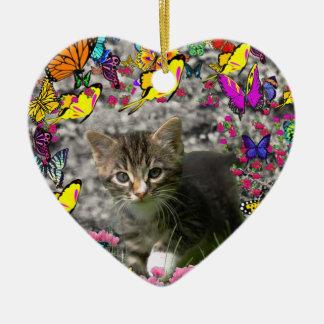 Emma in Butterflies I - Gray Tabby Kitten Ceramic Ornament