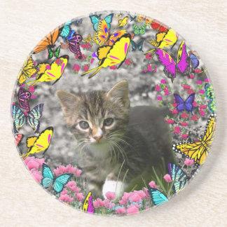 Emma in Butterflies I - Gray Tabby Kitten Beverage Coaster