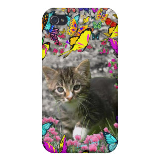 Emma in Butterflies I - Gray Tabby Kitten Cover For iPhone 4