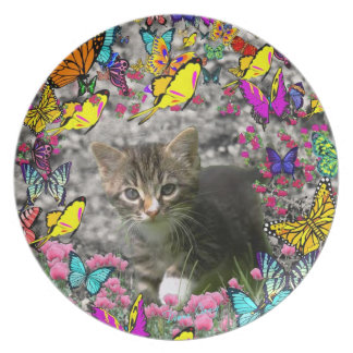 Emma in Butterflies I - Gray Tabby Kitten Dinner Plate