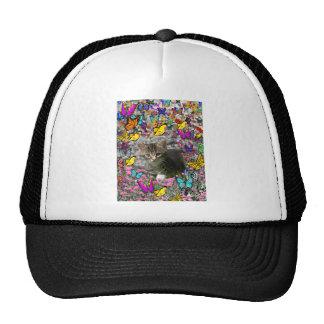 Emma in Butterflies I - Gray Tabby Kitten Trucker Hat