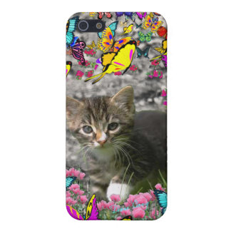 Emma in Butterflies I - Gray Tabby Kitten iPhone 5/5S Case
